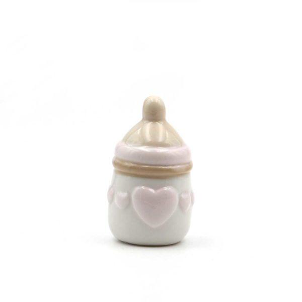 les- 50076 bomboniera nascita biberon cuori rosa