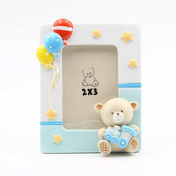ETM-049268 bomboniera nascita portafoto orsetto azzurro celeste