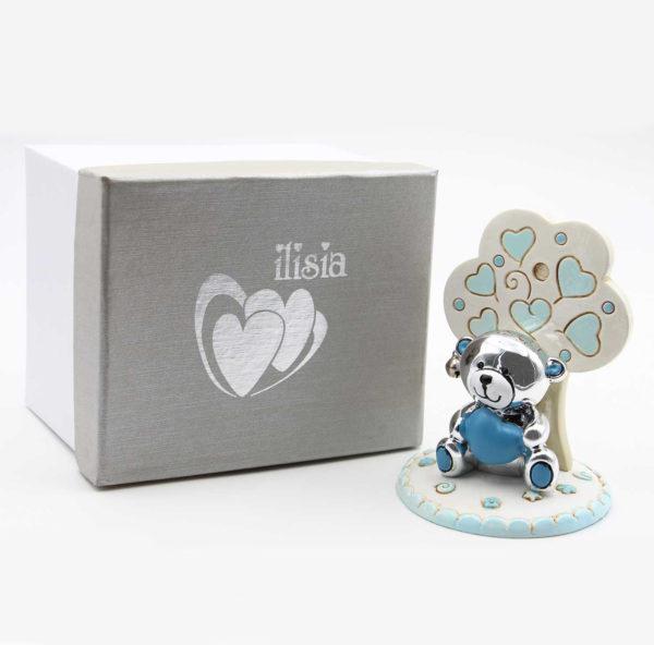 Bomboniera nascita in resina a forma di albero con orsetto argentato. con scatola in cartone. Due modelli assortiti.